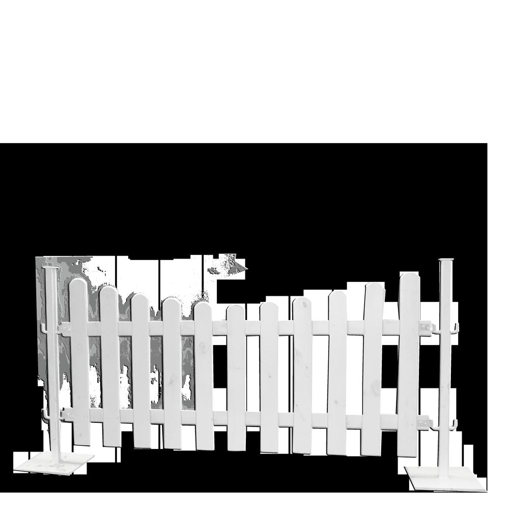 Holzzaun, 200cm inkl. Metallständer